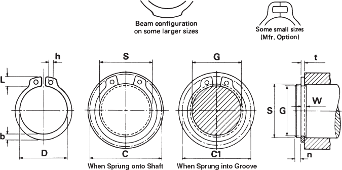 standard external retaining rings